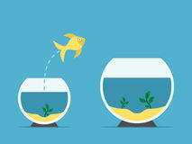 Fish changing aquarium. Gold fish jumping from little to large aquarium on blue background. Courage, risk and opportunity concept. Flat design. Vector Royalty Free Stock Photos