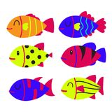 Fish character collection design. Animals vector design Royalty Free Stock Images