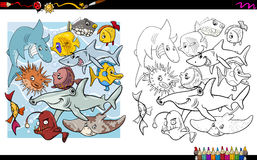 Fish characters coloring book. Black and White Cartoon Illustration of Fish Characters Coloring Book Activity Stock Photo