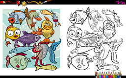 Fish characters coloring page. Cartoon Illustration of Fish Characters Coloring Book Activity Stock Photos