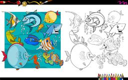 Fish characters group coloring book. Cartoon Illustration of Fish Animal Characters Group Coloring Book Activity Stock Photography