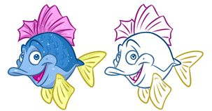 Fish cheerful cartoon Illustrations. Isolated image animal character Royalty Free Stock Image