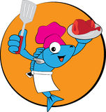 Fish Chef. Illustration of fish chef image is isolated on color background, created in illustrator software Royalty Free Stock Photo