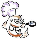 Fish chef. Line art cartoon image of fish chef Stock Image