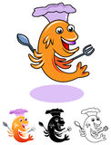 Fish chef. Line art funny cartoon image of fish chef Royalty Free Stock Photo