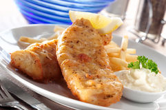 Fish and chip. With mayonnaise Royalty Free Stock Image