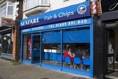 Fish and Chip shop. England. Kent. Circa. 07.07.2014. A shop front of a traditional British Fish and Chip shop Stock Image