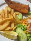 Fish and chips. With salad royalty free stock photography