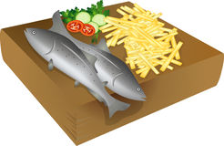 Fish and chips. On a wooden plate, isolated objects over white background Stock Photography