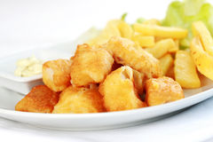 Fish and chips. Fried fish and chips with royalty free stock images