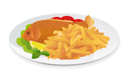 Fish and Chips. On a plate. Popular take-away food in the United Kingdom. Vector illustration on white background Stock Photography