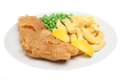 Fish and Chips. Traditional British meal of deep-fried cod with chips and peas Royalty Free Stock Photography