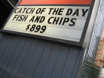 Fish and Chips $899. Hooters, nyc stock photo