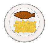 Fish and chips. Illustration of fish and chips on a plate isolated on white Royalty Free Stock Photos
