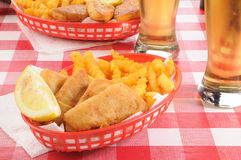 Fish and chips with beer Stock Images