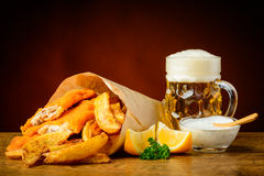 Fish, chips and beer Stock Image
