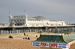 Fish & Chips in Brighton. Brighton Pier with old fish and chip shop in the front Stock Photography
