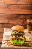 Fish and Chips Burger with grilled portobello Stock Images