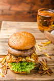Fish and Chips Burger with grilled portobello Stock Photos