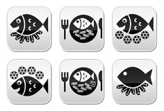 Fish and chips  buttons set Royalty Free Stock Photos