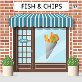 Fish and chips cafe. Building. Sticker on window. Red brick facade, Vector illustration Royalty Free Stock Photography