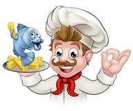 Fish and Chips Cartoon Chef. A cartoon chef character holding fish and chips meal Stock Photography