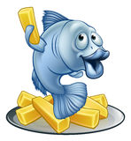 Fish and Chips Cartoon. A cartoon fish and chips mascot character Royalty Free Stock Photos