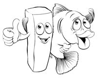 Fish and chips characters. An illustration of fish and chips mascot characters arm in arm giving thumbs up Stock Photos