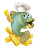 Fish and chips chartoon chef. An illustration of a cartoon chef fish character holding a French fry or chip, fish and chips concept Royalty Free Stock Images