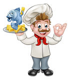 Fish and Chips Chef. A cartoon chef character holding fish and chips meal and giving a perfect gesture Stock Photography