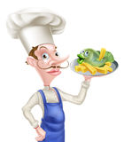 Fish and Chips Chef. A cartoon chef holding a platter with fish and chips or french fries on it Royalty Free Stock Image