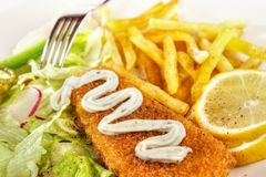 Fish and chips closeup Stock Photography