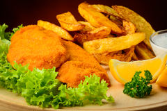 Fish and chips closeup Royalty Free Stock Images