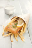 Fish and chips in cone Stock Images