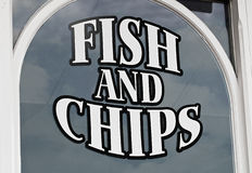 Fish and chips display Stock Photo