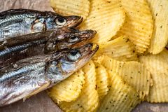 Fish and chips. Dried fish and fluted chips, a beer snack. Top view. Selective focus royalty free stock photo