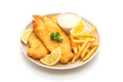 fish and chips with french fries stock photo