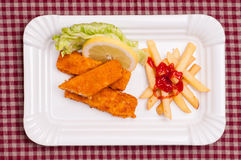 Fish and chips with green salad Royalty Free Stock Image