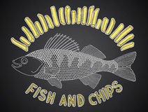 Fish and chips 1. The hand-drawn fish and chips for menu cafe bars and restaurants Stock Images