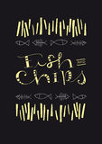 Fish And Chips hand-drawn text and illustration stock photography