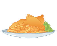 Fish and chips. An illustration of a plate of crispy golden chips with two pieces of fish in batter and mushy green peas on a white background Stock Image