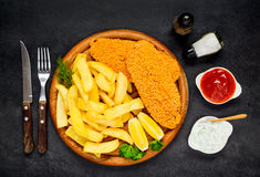 Fish and Chips with Ketchup Stock Images