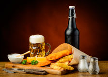 Fish and chips menu with beer Stock Photo