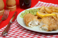 Fish, Chips and Mushy Peas Stock Photo
