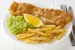 Fish and Chips with Mushy Peas stock photos