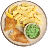 Fish, Chips and Mushy Peas Isolated Royalty Free Stock Image