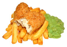 Fish And Chips With Mushy Peas Royalty Free Stock Images