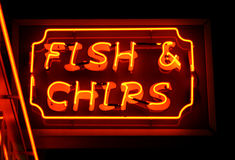 Fish and chips neon sign Stock Image