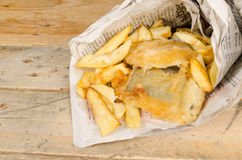 Fish and chips in newspaper, British snack Stock Photo