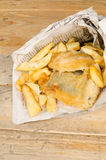 Fish and chips in newspaper Royalty Free Stock Photos